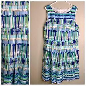 Dressbarn Blue Fit & Flare Printed Midi Dress NEW